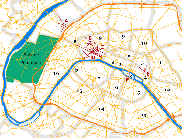 simple map of paris